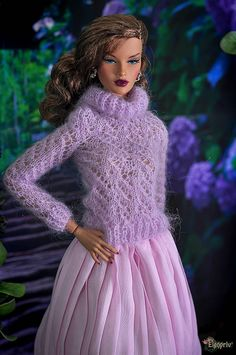 """ELENPRIV hand-knitted lilac sweater for Fashion royalty FR:16 ITBE, Sybarite, Tonner and similar 16"""" body size dolls. by elenpriv on Etsy"""