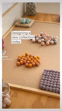 Designing our wool rug colourways using wool balls. The perfect custom home interior. Luxury Interior Design, Interior Architecture, Grey And White Rug, Crafts Beautiful, Yellow Rug, Rug Sale, Design Process, Rug Making, Rugs Online