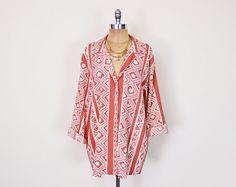 #Vintage 80s 90s #Coral #Tribal #Shirt Blouse Top Tribal Print Shirt #Ethnic #Slouchy #Oversize Shirt Button Up Shirt #Boho Shirt Women S M L XL XXL #Oversized #Etsy #EtsyVintage #TrashyVintage @Etsy $28.00