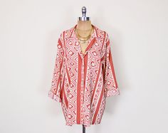 #Vintage 80s 90s #Coral #Tribal #Shirt Blouse Top Tribal Print Shirt #Ethnic #Slouchy #Oversize Shirt Button Up Shirt #Boho Shirt Women S M L XL XXL #Oversized #Etsy #EtsyVintage #TrashyVintage @Etsy $28.00