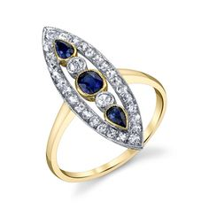 EDUARDIAN MARQUISE RING W/ ALTERNATING DIAMOND & SAPPHIRE