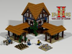 Lego Town center from Age of Empires Age of Kings RTS game. Lego Building, Building Design, Lego Burg, Lego Age, Lego Knights, Lego Sculptures, Amazing Lego Creations, Age Of Empires, Lego Castle