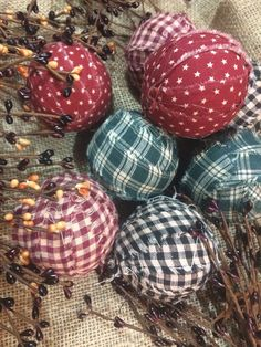 Set of 6 assorted Primitive balls. Homespun by Chessyflowers