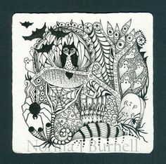 Halloween Tangle 3 by Norma J Burnell n Certified Zentangle Teacher