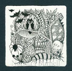 Halloween Tangle 3 by Norma J Burnell n Certified Zentangle Teacher
