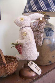 Folk Art Primitive Punch Needle Rabbit on Old Copper Oil Can Make Do
