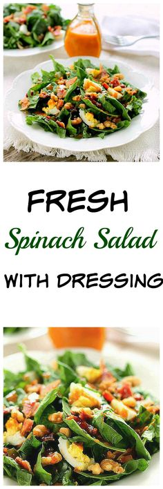 Fresh Spinach Salad with Dressing...the unique flavor of the dressing will have you wanting spinach salad on a regular basis. This salad is easy and absolutely delicious!