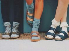 I would normally cringe at the idea of socks with sandals,  but U.O. made it look cute!