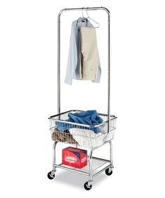 Whitmor Commercial Rolling Laundry Butler with Wire Storage Rack - Silver Laundry Hanger, Laundry Cart, Laundry Organizer, Coin Laundry, Laundry Shop, Laundry Basket, Organizers, Wire Storage Racks, Storage Cart
