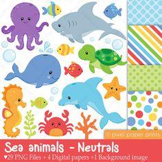 Animales marinos NEUTRALES Set de Clip Art y por pixelpaperprints