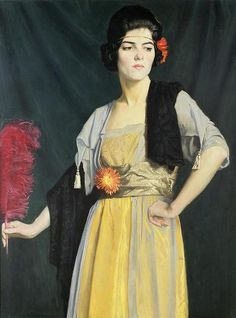 """""""The Feather Fan"""" by William Strang, 1910"""