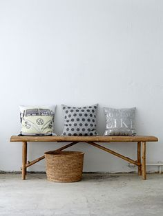 cushions, basket and bamboo bench from Bloomingville  www.bloomingville.com
