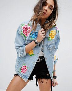 a10c554f9b PrettyLittleThing Floral Embroidered Denim Jacket. ASOS