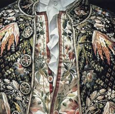 A closer look at the exquisite embroidery of mid-late 18thC French Frockcoat and waistcoat.