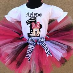 Girls TCM Zebra Black n Pink Minnie Mouse Birthday Tutu Outfit
