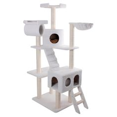Showcasing a faux sheepskin cover and sisal rope-wrapped posts, this imaginative cat tree is the perfect place for your favorite feline to scratch and play. ...