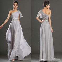2015 Fashion Gray Bridesmaid Dresses A Line One Shoulder Beaded Chiffon Long Wedding Guest Dresses Cheap Formal Party Evening Prom Gowns Online with $86.92/Piece on Elegantonline's Store   DHgate.com