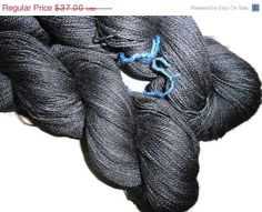 Valentine Sale Luxury Hand Dyed Baby Alpaca - Mulberry Silk Lace Yarn, 2-ply Charcoal  Spirit of Luxury