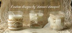 VINTAGE Lace tea candle votives for weddings 10 by Bannerbanquet, $12.00