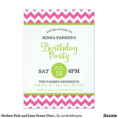 Modern Pink and Lime Green Chevron Birthday Party 5x7 Paper Invitation Card