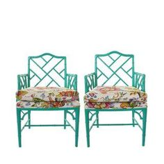 Faux Bamboo Chippendale Chairs - A Pair