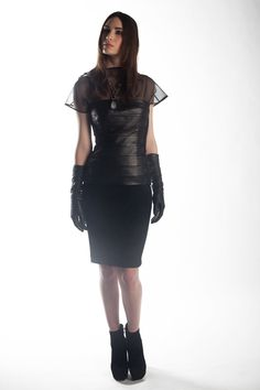 J'Amy Tarr Fall-2012 Look #2, Silk organza boat neck shell in black, Lambskin and camel hair banded scallop detail bustier