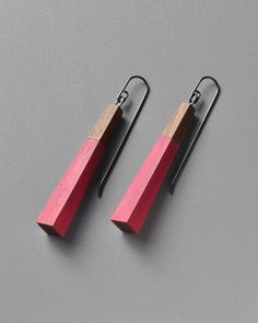 Julia Turner, Ballast Earrings (Walnut/Pink), Walnut and sterling silver