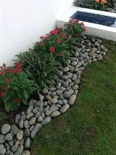 Simple, easy and cheap DIY garden landscaping ideas for front yards and backyard. Simple, easy and cheap DIY garden landscaping ideas for front yards and backyards. Many landscaping ideas with rocks for small areas, Rock Garden Design, Garden Landscape Design, Landscape Architecture, Desert Landscape, Landscape Designs, Landscape Curbing, Spring Landscape, Landscape Fabric, Yard Design