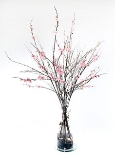 Realistic Life-like Pink Cherry Blossom with Sticks Flower Arrangement in Artificial Water & Glass Vase. $119.00, via Etsy.