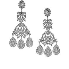 Kenneth Jay Lane Girondelle Crystal Chandelier Clip Earrings