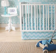 New Arrivals Zig Zag Baby Bedding in Aqua