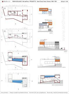 Risultati immagini per villa dall'ava plan Oma Architecture, Architecture Graphics, Amazing Architecture, Model House Plan, House Plans, Rem Koolhaas, Plan Sketch, Interior Sketch, Autocad