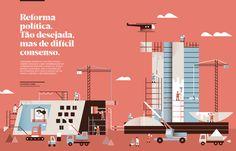 Illustrations for FIEC Magazine (Brazil) / Vibri + Fernando Brito Simple Illustration, Graphic Design Illustration, Illustration Styles, Print Layout, Layout Design, Brochure Inspiration, Building Illustration, Poster Drawing, Type Posters