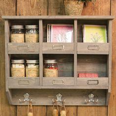 Large Rustic Wooden Shelf Unit Organiser - 6 Cubbies, 3 Double Hooks