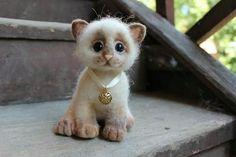 Adorable felted kitten
