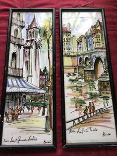 Vintage Set of 2 Paris Scenes / Handpainted French Tiles / Arnart Creations Japan by SunshineVintageGoods on Etsy