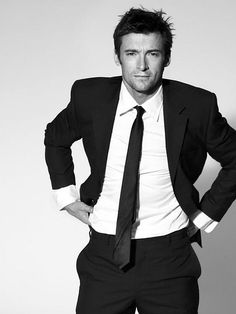 Hugh Jackman - love the hair and the suit