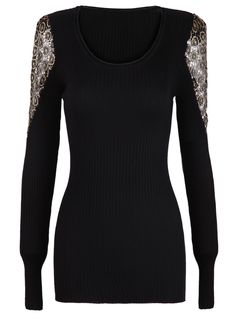Black Long Sleeve Metallic Yoke Embroidered Shoulder Sweater - Sheinside.com