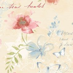 """Norwich 32.7' x 20.5"""" Butterfly and Floral Rolls Wallpaper"""