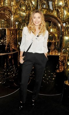32887c234d66 Olsens Anonymous Blog Elizabeth Olsen Masculine Inspired Black And White  Look Bow Neck 2012 Pussy Bow