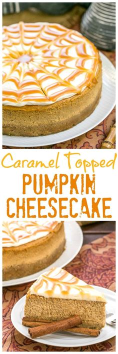 Caramel Topped Pumpkin Cheesecake | A dreamy autumn dessert #pumpkin #Cheesecake