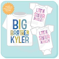 Set of Three Personalized Big Brother with Twin Baby Sisters Tshirt and Two Onesies with Text