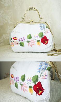 Sweet Little Pouch Purse Crossbody Chain Vintage Fabrics Handmade Embellishments by Make Mine Pretty