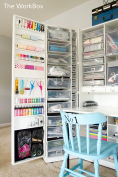 Awesome Craft room storage unit! The WorkBox by the Original Scrapbox seen on www.CraftaholicsAnonymous.net. Click for more craft room storage ideas!
