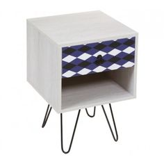 Mesa de television modelo nordic blue con tres cajones y Mesita de noche 40 cm ancho