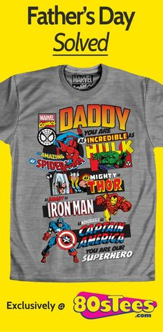 Marvel Comics Father's Day T-Shirt made by Fifth Sun in collections: Super Heroes: Marvel Comics, & Department: Mens, & Color: Gray Fathers Day Shirts, Fathers Day Crafts, Dad To Be Shirts, Daddy Gifts, Gifts For Dad, Daddy Day, Dads, Gift Ideas, Marvel Comics