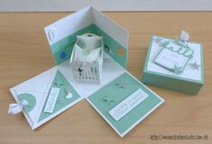 stampin up, baby explosion box Baby Crafts, Crafts For Kids, Exploding Box Card, Baby Box, New Baby Cards, Baby Shower Cards, Pop Up Cards, Stamping Up, Creative Cards