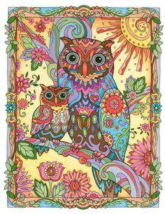 "Creative Haven Owls Coloring Book by Marjorie Sarnat, ""Owl and Baby"" ~color~"