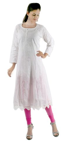 8e10b6a2b22 Ethnic Pure White Lucknow Chikan hand embroidery kurta/ top/tunic for  comfortable summer wear for women/ladies/girls Chest :44 inch