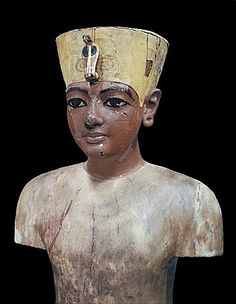 Dummy head of the young king, made from stuccoed and painted wood, from the tomb of the pharaoh Tutankhamun, discovered in the Valley of the Kings, Thebes, Egypt, North Africa, Africa